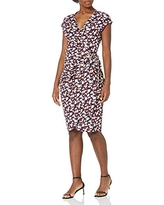 Lark & Ro Women's Classic Cap Sleeve Wrap Dress, Pink Red LilyPad Floral, X-Small