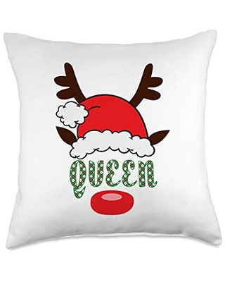 Merry Christmas December Holiday Funny Design Tee Christmas Holiday Santa Hat Reindeer Antlers QUEEN Throw Pillow, 18x18, Multicolor
