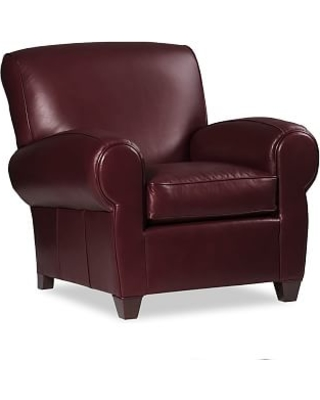 Manhattan Leather Armchair, Berry Red