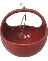 Basket 4-1/2 in. x 4-1/2 in. Red Ceramic Hanging Planter, Glossy