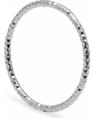 Myia Bonner - Silver Skinny Diamond Faceted Stacking Ring