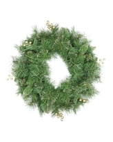 """24"""" Mixed Pine and Glittered Berry Artificial Christmas Wreath - Unlit"""