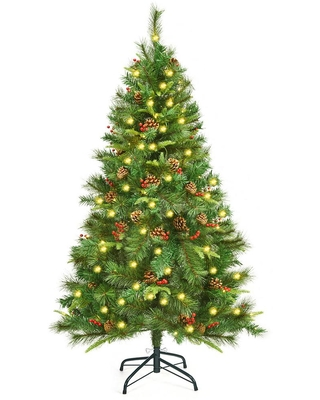Costway 5 ft. Pre-Lit Hinged Artificial Christmas Tree with 150 LED Lights