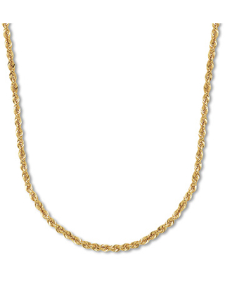 """Rope Chain Necklace 14K Yellow Gold 22"""" Length"""