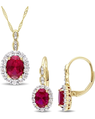 Miadora Signature Collection 14k Yellow Gold Created Ruby White Topaz & Diamond Necklace and Leverback Earrings Set