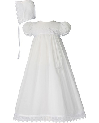 Infant Girl's Little Things Mean A Lot Christening Gown & Hat Set, Size 3M - White