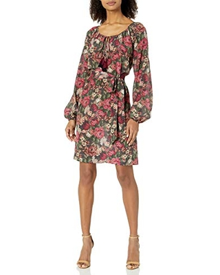For Love and Liberty Women's Printed Silk Dress, Multi, L