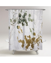 Oliver Gal 'Golden Leaves' Floral and Botanical Decorative Shower Curtain - Gold, Green (71 x 74)