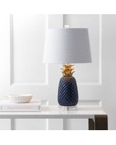 """Pineapple 23"""" Ceramic LED Table Lamp, Navy/Gold by JONATHAN Y (Dark Blue/Gold)"""