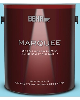 BEHR MARQUEE 1 gal. #P490-2 Blue Sarong Matte Interior Paint and Primer in One