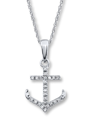 bc47beeb1 Remarkable Deal on Diamond Anchor Necklace 1/10 ct tw Round-cut 10K ...