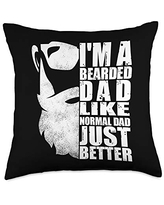 Father's Day Designs Dad-Gifts Dad Funny Unique Beard Mens Father-Day Gift-Idea Throw Pillow, 18x18, Multicolor