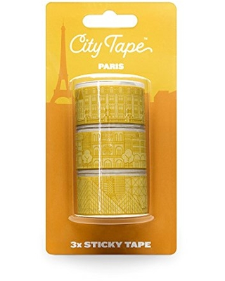 Paris City Washi Masking Tape - Decorative Adhesive Paper Tape for Arts, Crafts, Scrapbooking, Travel Journal Decoration - Pack of 3
