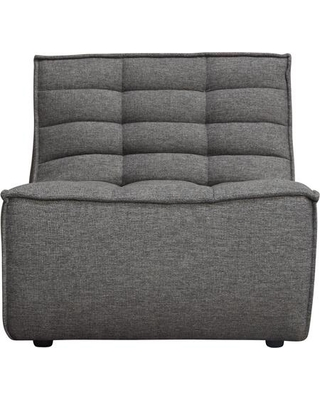 Marshall Collection MARSHALLACGR Armless Chair with Scooped Seat Fabric Upholstery Piped Stitching and Grid-Tufted Pattern in