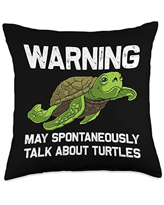 Best Tortoise Reptile & Bony Shell Species Designs Funny Gift for Men Women Sea Turtle Land Water Animal Throw Pillow, 18x18, Multicolor