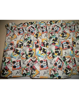 Savings On Mickey Mouse Comics Patchwork Squares Blocks Fabric Curtain Topper Valance
