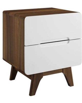 Origin Collection MOD-6073-WAL-WHI Wood Nightstand or End Table in Walnut White