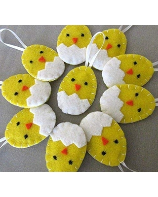 Set of 10 cute hatching chick ornaments, felt Easter egg spring decor party favors, adorable baby chicken duckling