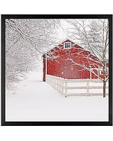 """Red Barn in the Snow by Cindy Taylor, 18 x 18"""", Wood Gallery, Black, No Mat"""