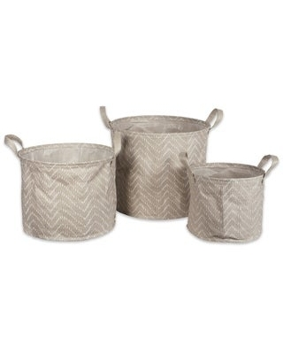 DII Assorted Round Coated Tribal Chevron Laundry Bins (Set of 3) (Stone Brown/Cream)