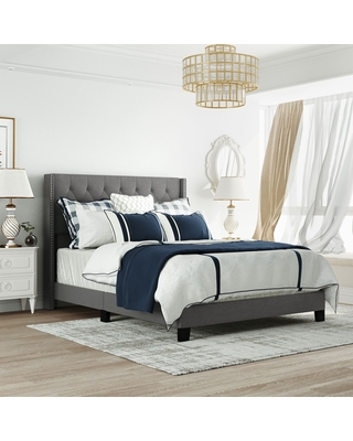 Classic Linen Fabric Platform Bed with Headboard,Grey ,Queen Size