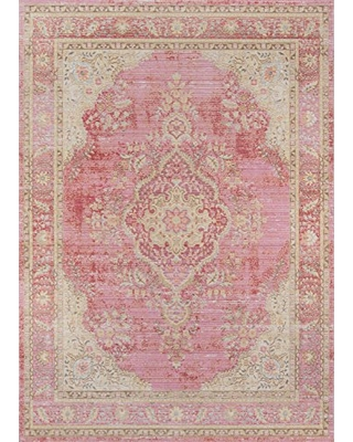 Momeni Rugs Isabella Traditional Medallion Flat Weave Area Rug, 4' X 6', Pink