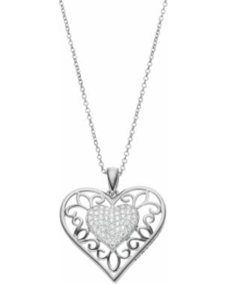 """Sentimental Expressions Sterling Silver Cubic Zirconia Daughter Heart Necklace, Women's, Size: 18"", White"""