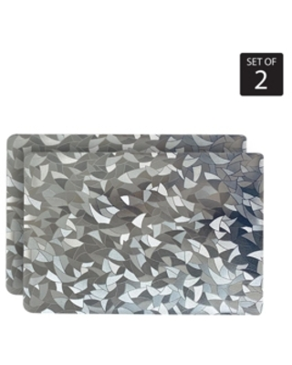 Dainty Home Reversible Shimmering Metallic Leaf Dining Table Indoor Outdoor Placemats -Set of 2