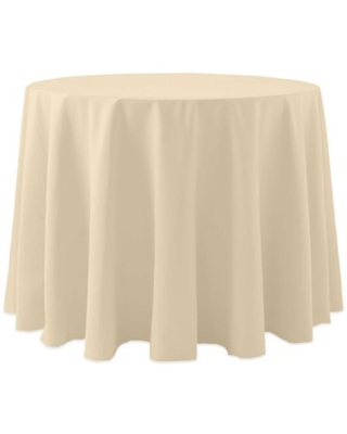 60-Inch Round Spun Polyester Tablecloth in Beige