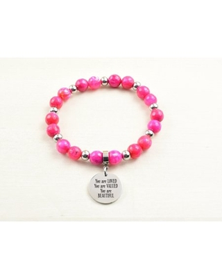 Genuine Agate Inspirational Bracelet - Pink - You are loved