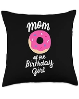 Matching Family Birthday Donut Gifts Store Mom Girl Matching Family Donut Birthday Throw Pillow, 18x18, Multicolor