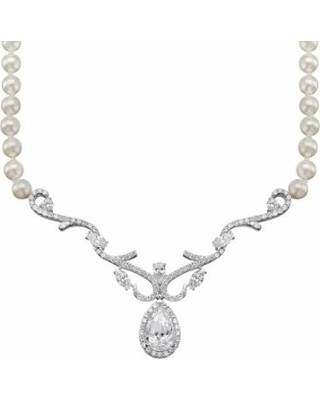 c0a9f9e51 Emotions Cubic Zirconia and Simulated Pearl Sterling Silver Necklace,  Women's, White