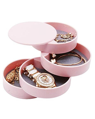 4-Tier Jewelry Organizer Box Tower Rings Earrings Storage Case Holder Necklace Bracelet Display Tray 360°Rotating Showcase (Pink)