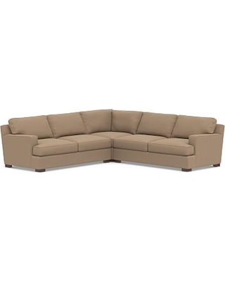 Townsend Square Arm Upholstered 3-Piece L-Shaped Corner Sectional, Polyester Wrapped Cushions, Performance Plush Velvet Camel