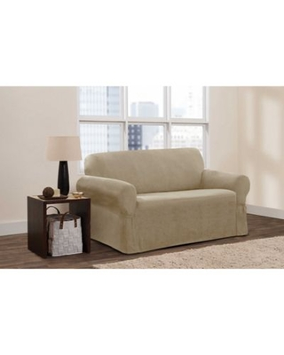 Zenna Home Smart Fit Stretch Suede Loveseat Slipcover in Tan