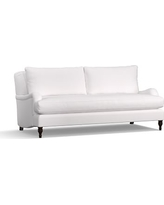"Carlisle Upholstered Sofa 80"" with Bench Cushion, Down Blend Wrapped Cushions, Twill White"