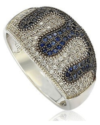 Suzy L. Sterling Silver Blue and White Cubic Zirconia Micro Pave Ring (6.5)