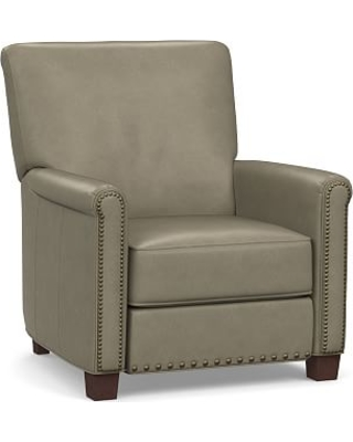 Irving Roll Arm Leather Power Recliner with Bronze Nailheads, Polyester Wrapped Cushions, Legacy Taupe