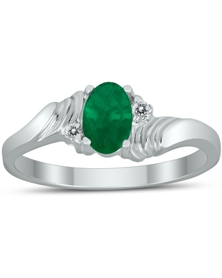 6X4MM Emerald and Diamond Wave Ring in 10K White Gold (5)