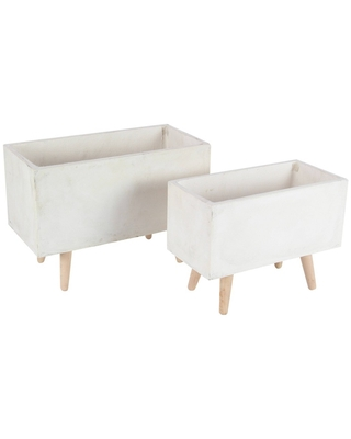 Set of 2 Rectangular Planters with Wooden Legs - Olivia & May