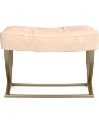 James Square Ottoman, Antique Brass, Italian Distressed Leather, Blush