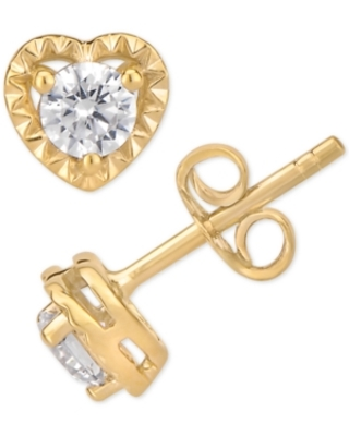 Certified Diamond Heart Stud Earrings (1/2 ct. t.w.) in 14k White Gold (Also Available in Yellow or Rose Gold)