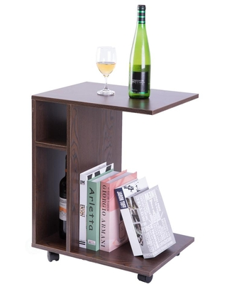Basicwise Modern Brown Sofa Side Table with Shelves and Casters