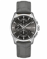 Hamilton Swiss Automatic Chronograph Jazzmaster Gray Leather Strap Watch 42mm, Created for Macy's - Gray