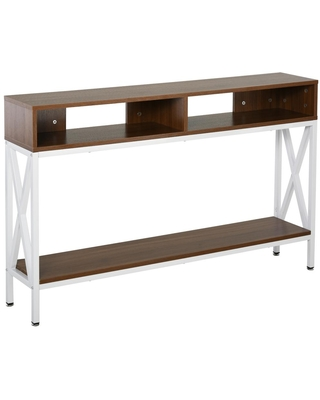HomCom 47.25 in. White 29.5 in. H Rectangular Wooden Console Table