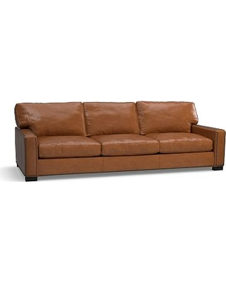 """Turner Square Arm Leather Grand Sofa 103.5"""" with Bronze Nailheads, Down Blend Wrapped Cushions, Leather Statesville Molasses"""