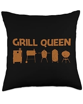 Best Grill Barbecue Cooking Griller Chef Clothes Funny Gift for Women Mom Grilling BBQ Smoked Meat Fan Throw Pillow, 18x18, Multicolor