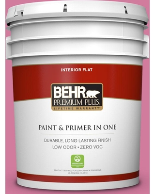 BEHR Premium Plus 5 gal. #P130-5 Little Bow Pink Flat Low Odor Interior Paint and Primer in One
