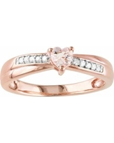 Stella Grace Rose Rhodium-Plated Sterling Silver Morganite and Diamond Accent Heart Crisscross Ring, Women's, Size: 6, Pink
