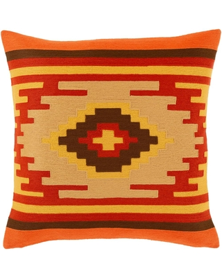 Artistic Weavers Yannick Burnt Orange Graphic Embroidered Polyester 20 in. x 20 in. Throw Pillow